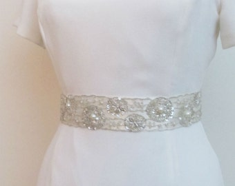 Beaded Bridal Belts Wedding Sash Belt with  Crystal Pearls Beads Ivory 2""