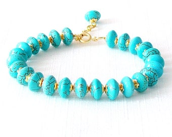 Gold Gemstone Bracelet - Magnesite - Turquoise, Gold - The Stoned: Heishi Dangle
