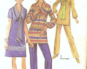 1970s Dress Pattern -Vintage Sewing Patterns - 70s Tunic Pattern - 1970s Pants Pattern - Scarf Pattern -Simplicity 9035