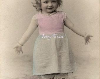 First Ta Da.  Vintage photo postcard of little girl.  Cute, funny.  Digital Download.