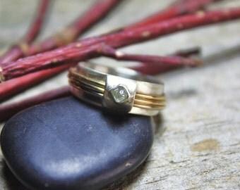 Rough Diamond & Mixed Metals Spin Ring