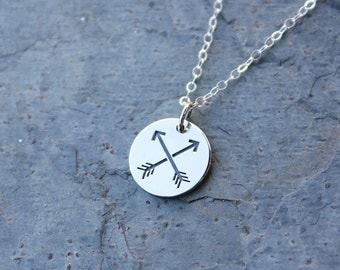 Friends Necklace - crossed arrows - Native American symbol of friendship- sterling silver charm & chain- BFF - free shipping in USA