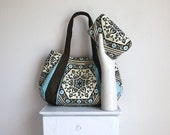 Large Hobo & Metalframe Clutch set  / BLUE STAR MARTINI / olive green  turquoise blue floral star print by jennjohn handbags