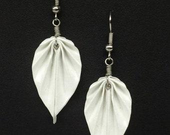White Origami Leaf Earrings