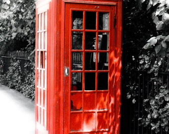 Red British phone booth fine art photography print, London Calling (free shipping)