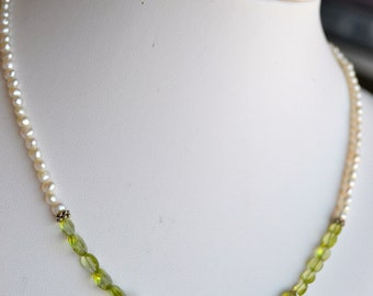 Necklace - Three Sterling Silver Swirls with Green Peridot and Freshwater Pearls