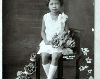 1930s Vintage Photograph. Philippines - Another Girl on another Chair, Tarlac.