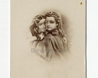 1860s - 1870s Antique CDV Photograph. Cute Sisters