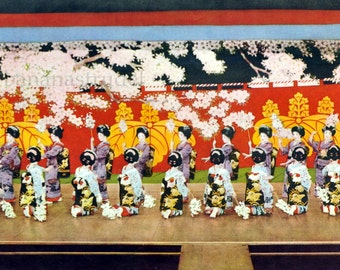 1935 Vintage Japanese Print of 24 Dancing Girls in Kimonos. Battle of Flowers at Naniwa Odori, Osaka