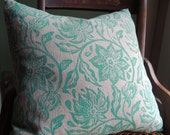 aquamarine passionflower on natural gray hand block printed floral home decor decorative linen pillow case
