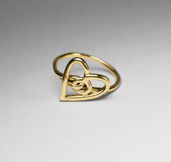 ON SALE-Solid Gold Heart Knot Ring