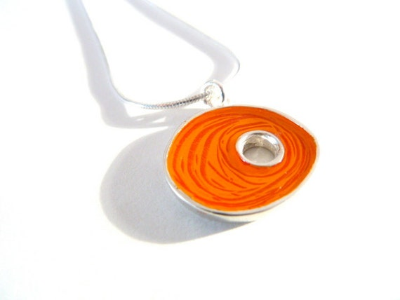 Orange nest necklace,sterling silver,resin inlay,mixed media,hand made