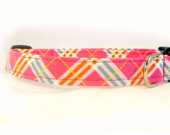 Collar Dog Adjustable Hot Pink Plaid