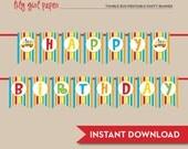 Tumble Bus / Fun Bus Happy Birthday Banner, Printable, INSTANT DOWNLOAD