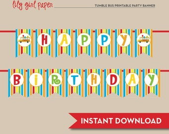 Tumble Bus / Fun Bus Happy Birthday Banner, Printable, INSTANT DOWNLOAD