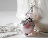 Pink Pearl Necklace Bridesmaid Necklaces Pearl Pendant Pink Wedding Jewelry Set Beaded Jewelry Bridesmaid Gift Pink and Silver Pearl Jewelry