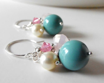 Beaded Earrings Aqua and Pink Bead Cluster Dangle Earrings in Silver Gifts for Her Pearl and Crystal Handmade Jewelry Under 20