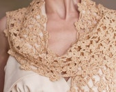 Crochet Lace Shawl Lacy Scarf Elegant Feminine Shawl Wrap Stole Neckwear Cotton Floral Eco Fashion Fawn Camel Golden Beige Flowery Meadow