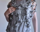 Crochet openwork net scarf scarflette shawl wrap boho bohemian fall - Fisherman's Wife in grey marble or CHOOSE YOUR COLOR
