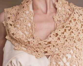 Crochet Lace Shawl Lacy Scarf Elegant Feminine Shawl Wrap Stole Neckwear Cotton Floral Eco Fashion Fawn Camel Golden Beige Flowery Meadow