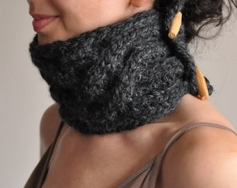 Celtic Connection hand knit UNISEX chunky cable texture neckwarmer collar cowl neckwear with wooden toggles in charcoal or CHOOSE Your COLOR