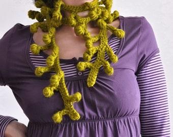 Freeform Crochet Neckwear Neckpiece Fiber Jewelry Wearable Art Modern Lariat Scarf Scarflette Porcupine Tree CHOOSE YOUR COLOR Gift under 50
