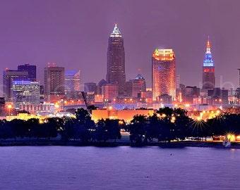 Cleveland Skyline at Night- 12 x 36 Panoramic Print - Panorama Photographic Poster