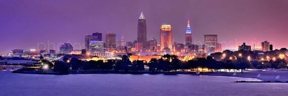 Cleveland Skyline At Night Panoramic Print Panorama