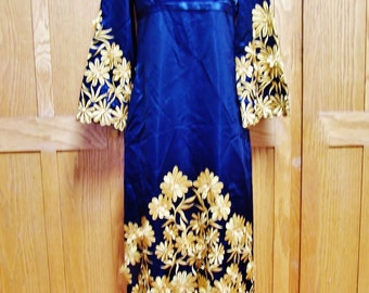 Embroidered Dress Black & Golden Flowers Satin Beauty size M