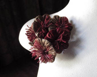 Brick Red & Mocha Millinery Flower Velvet Yoyos for Bridal, Boutonnieres, Fascinators, Floral Supply MF 96