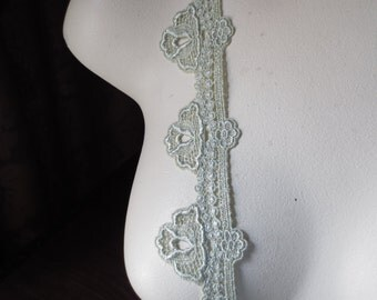 Venise Lace Trim in Willow Green for Appliques, Jewelry or Costume Design, Bridal CL 4008