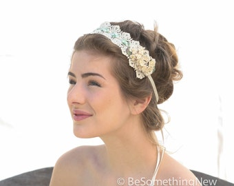 Vintage Ivory Lace Hair Tie Wedding Hair Accessory Wedding Headpiece, Wedding Vintage Lace Headpiece, Vintage Weddings