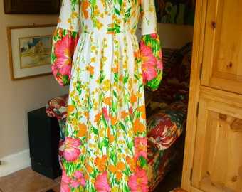 60s MOD Neon Floral Maxi Peasant Dress S/M  Empire Waist Bishops Sleeve