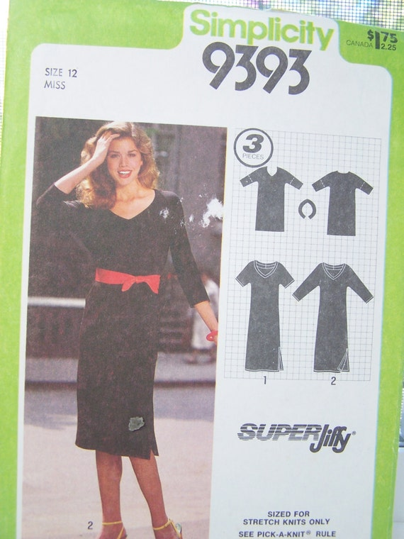SALE 80's Simplicity 9393 Retro Dress Pattern, Easy to Sew Dress Pattern, Pullover Fitted Dress, Size 12, Pattern Destash
