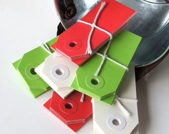 30 Mini Parcel Shipping Tags . Christmas Mix or Red, Green & White . 2 3/4 x 1 3/8
