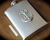 Anchor Flask Steampunk Flask Silver Flask Nautical Flask Summer Flask Beach Flask