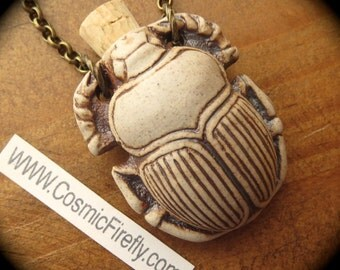 Scarab Necklace High Fired Stoneware Ceramic Bottle Necklace Necklace Egyptian Necklace Antiqued Brass Rolo Chain Handcrafted Jewelry