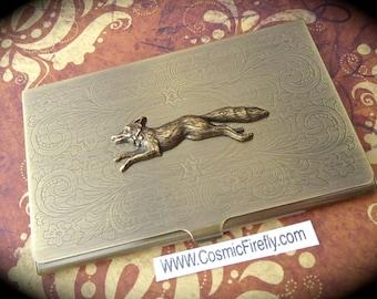 Brass Fox Business Card Case Gothic Victorian Vintage Inspired Steampunk Card Case The Fox Say Slim Fancy Card Case Running Fox