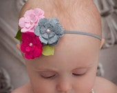 Vivian - Felt Petunia Cluster Thin Elastic Headband (many colors available)