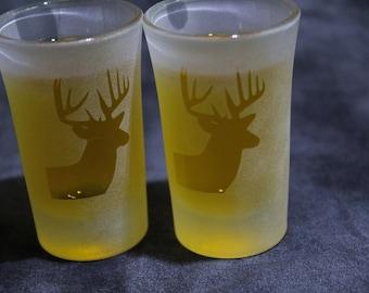 Etched Shot or Dessert glasses set of 2 Big Buck Profile