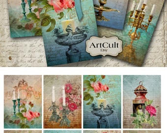 LIGHT A CANDLE - Printable Gift Tags Digital Collage Sheet printable 2.5x3.5 inch size images scrapbook paper