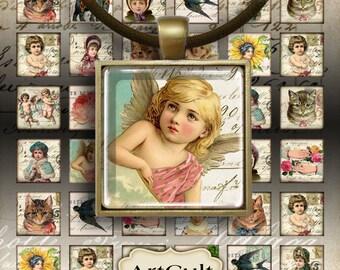 1x1 inch size Images EPHEMERA ICONS Digital Collage Sheet Printable download for square pendants, magnets, vintage paper goods, bezel cabs