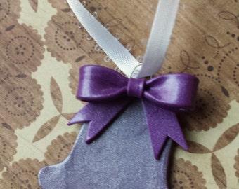 Purple Silver Bell Ornament