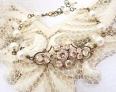 Bridal bracelet, Champagne crystal bracelet, Wedding bracelet, Bridal jewelry, Swarovski bracelet, Antique gold bracelet, Pearl bracelet