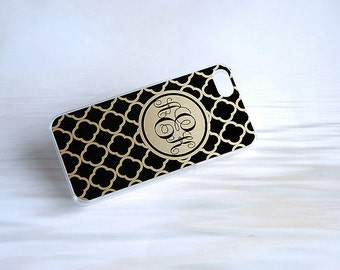 Black + Gold Phone Case + Monogram iPhone 5 Case + Black and Gold