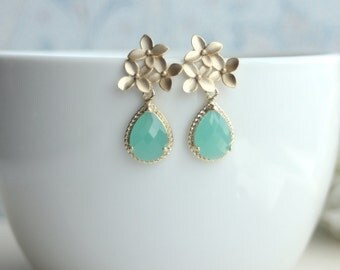 Mint Opal Cherry Blossom Gold Framed Green Glass Jewel Drop Earrings. Gold Flower Earrings. Bridesmaid Gifts. Maid of Honor. Gift for Mother