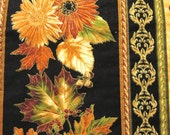 Quilted Table Runner for Fall  -colored leaves and mums