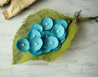 Fabric flowers,  sew on flower appliques, fabric appliques for wedding crafts, floral embellishments (20pcs)- Mini ROBIN'S EGG BLUE