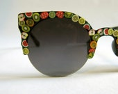 Circle Round Cat Eye Cateye Sunglasses // Retro Black Fruit Salad Fruity Fimo Shades // Mod Super Sunnies