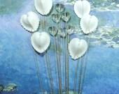 Romance - A Dozen Seashell and Crystal Heart Stems for a Wedding Bouquet or Centerpiece